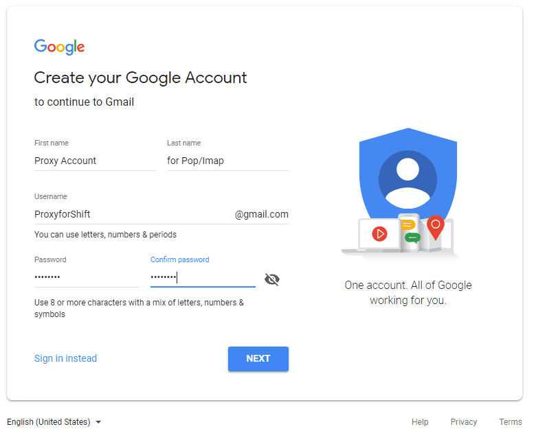 Create new Google Mail account to access your POP & IMAP accounts