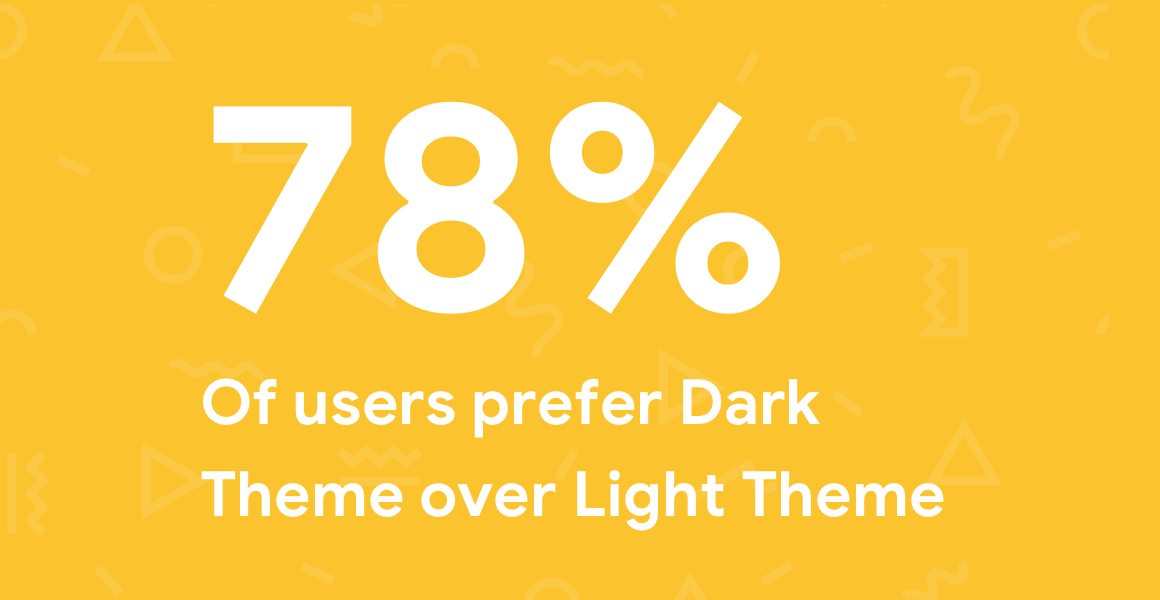 2018 year in review- percentage of users who prefer Dark Theme to Light Theme.