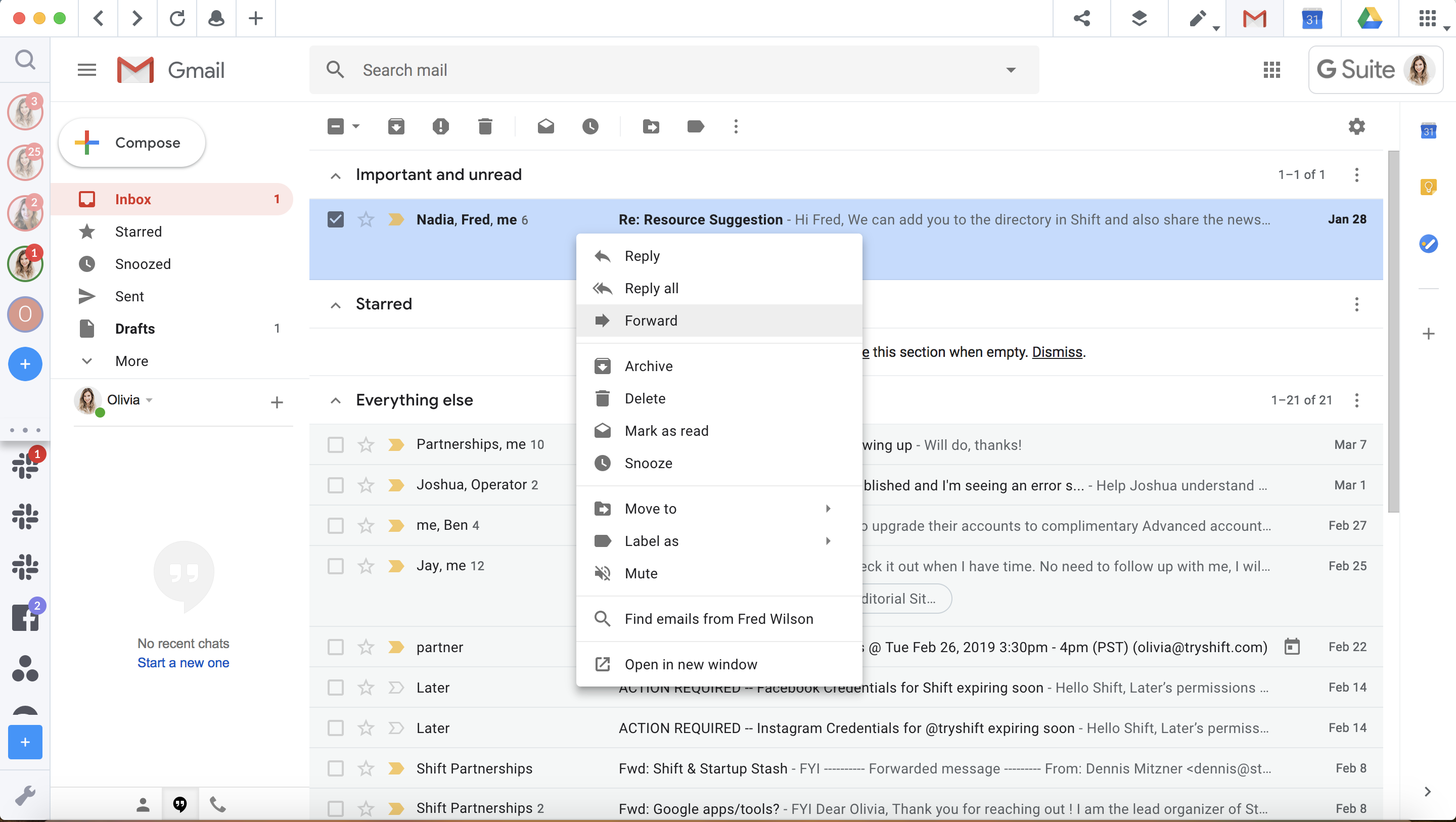 Use Gmail's right-click menu to reply and forward emails.