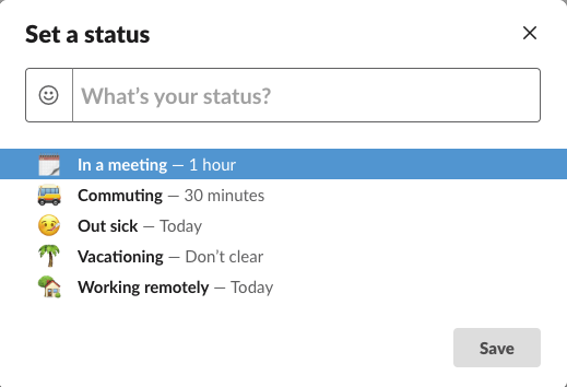 The basics of Slack include setting a status in Slack.
