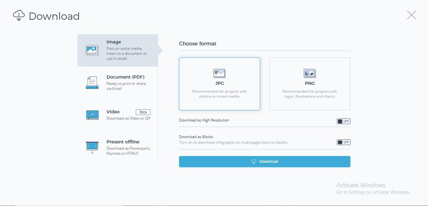 Visme multiple download and share options