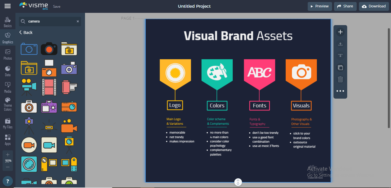 Visme has searchable libraries of free graphic assets