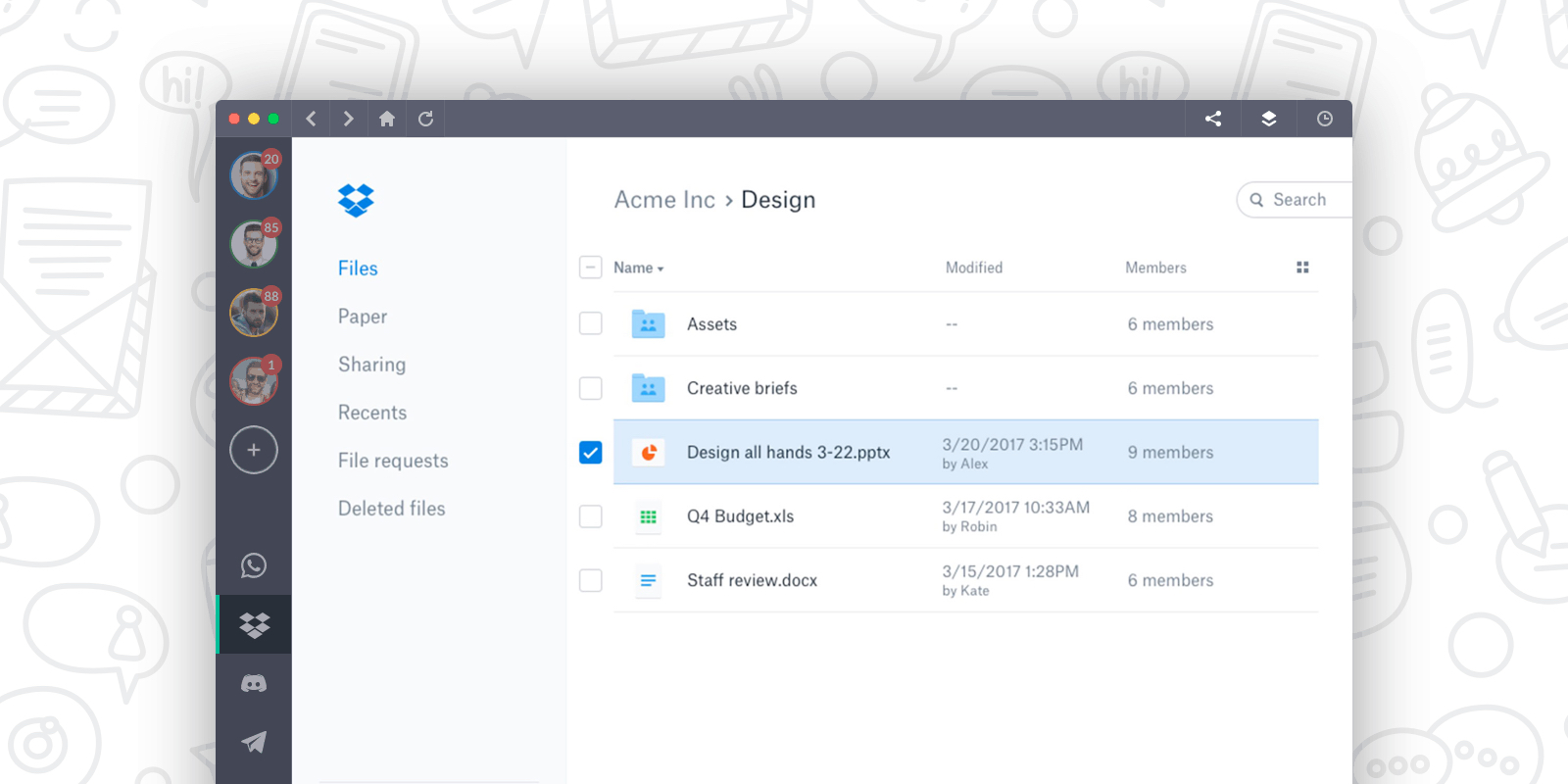 dropbox ui screenshot