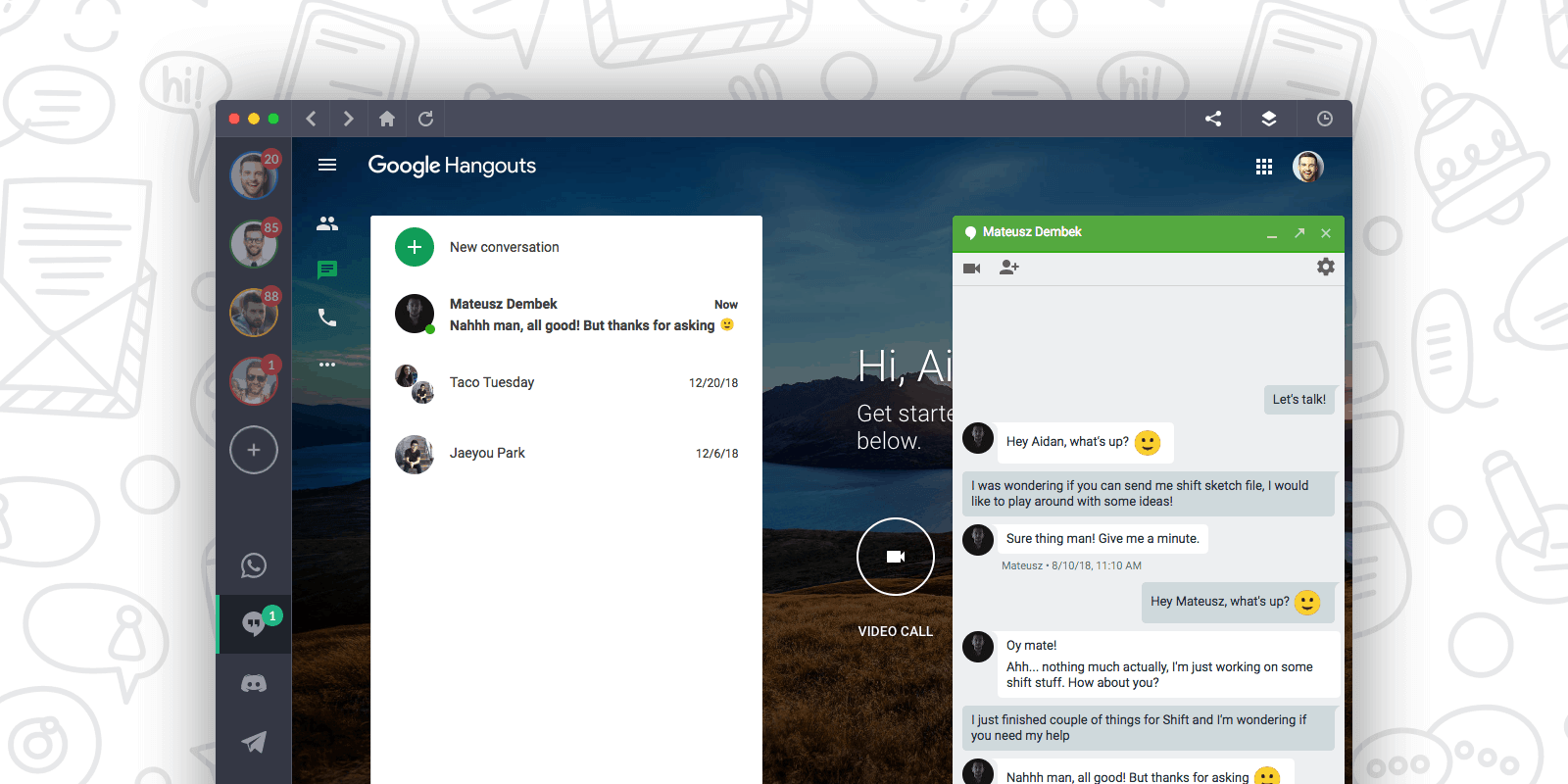 google hangouts in shift